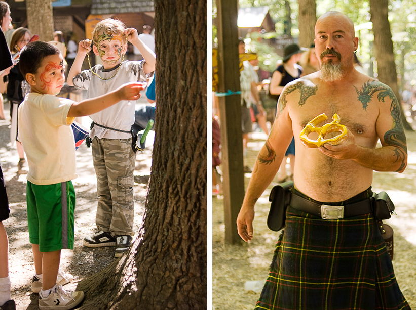 Kids and adults at the Maryland Renaissance Festival