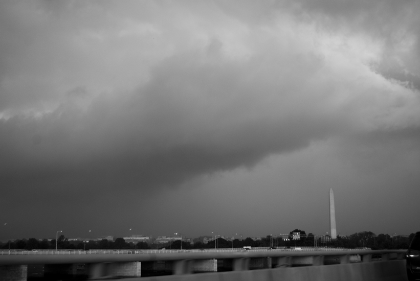 big storm over washington monument