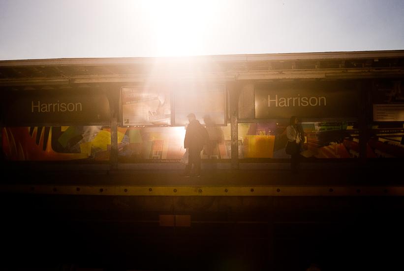 people waiting harrison station amtrak