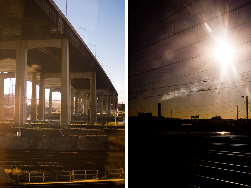 diptych images from train ride nyc to dc