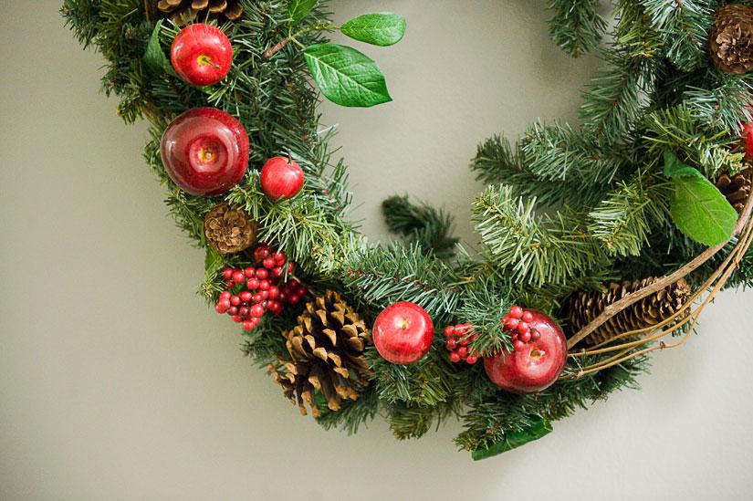 christmas wreath on our door