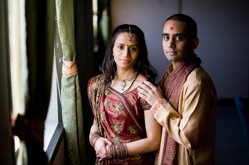 couple portrait at hindu engagement ceremony
