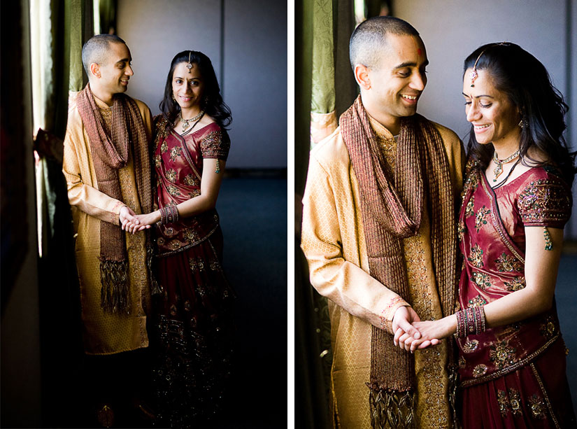 couple standing by window indian engagement ceremony