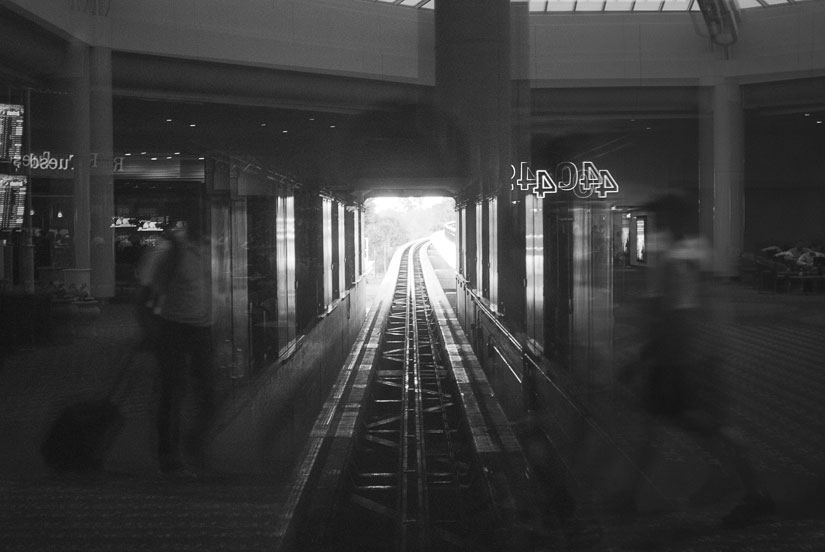 Orlando airport in black and white