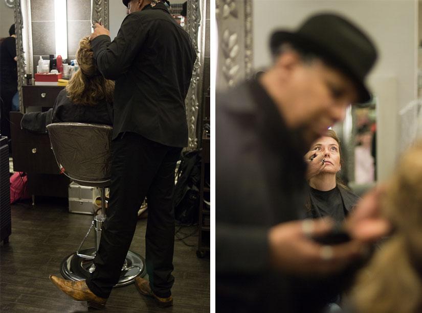 zoe salon stylist working on the bride
