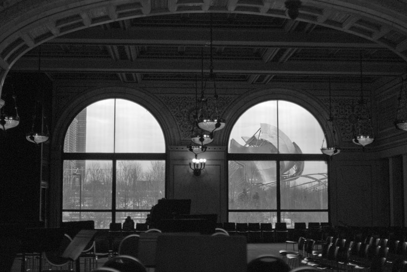 chicago cultural center in b&w