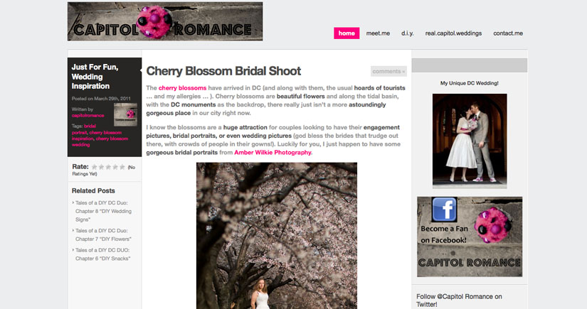 screen shot from cherry blossom bridal feature on capitol romance