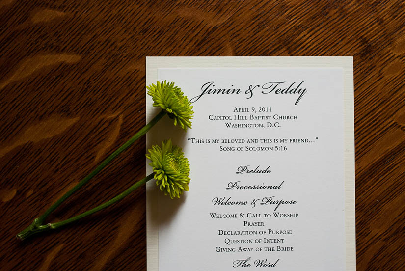 wedding program at the capitol hill baptist church