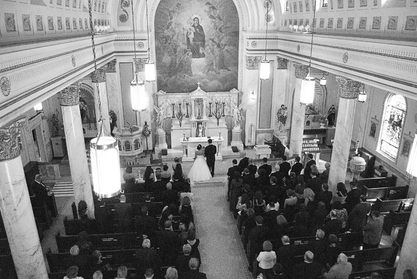 inside Holy Rosary Church for wedding ceremony