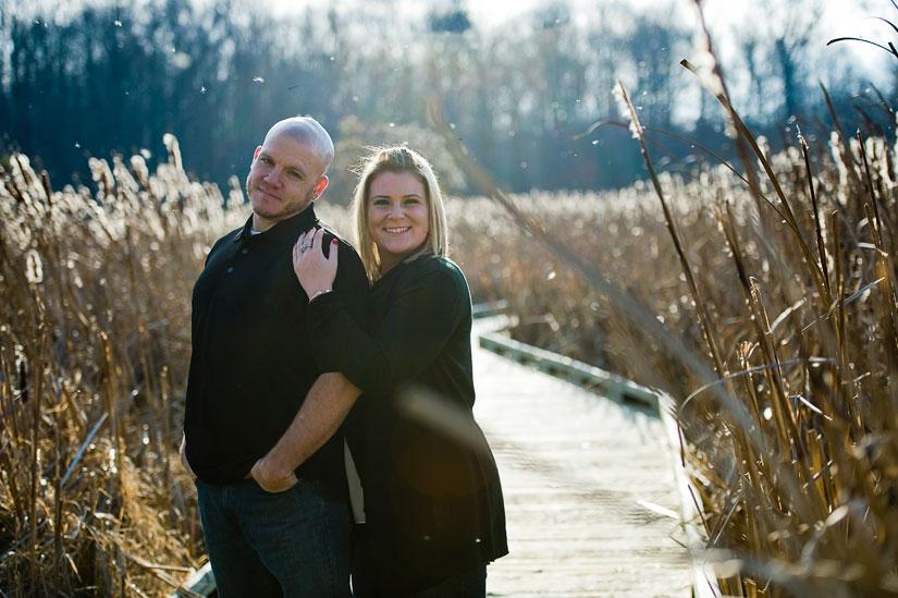 happy couple portrait at huntley meadows park