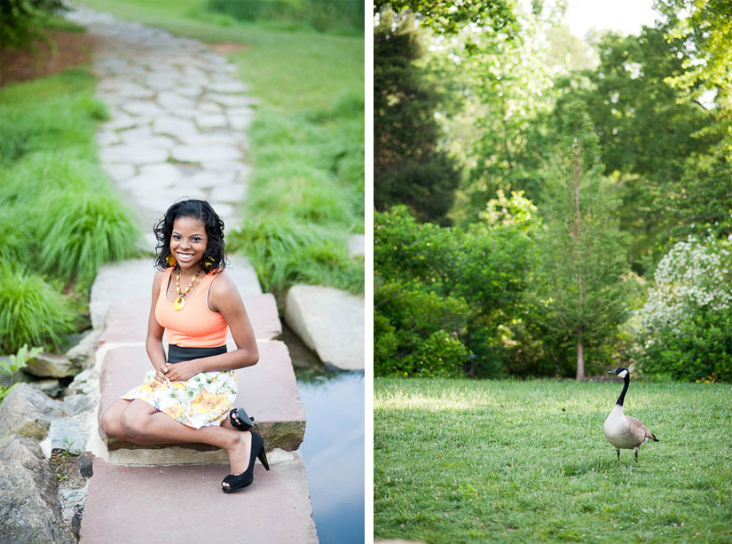 young woman and a goose at brookside gardens