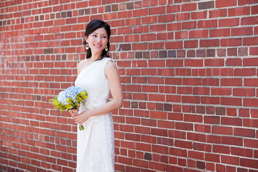beautiful bride with a brick wall in chevy chase
