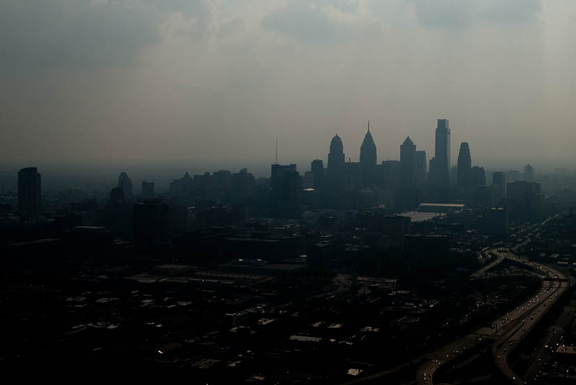 philadelphia skyline from a helicopter