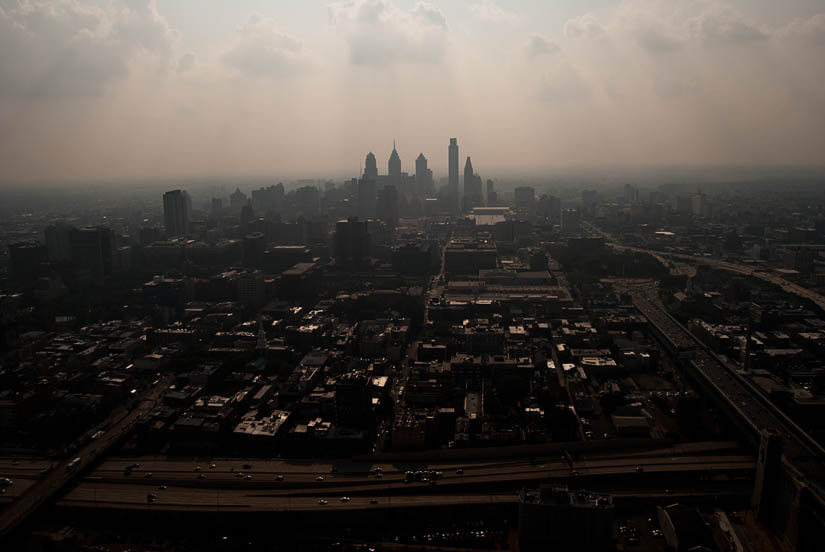 philadelphia hazy skyline from a helicopter