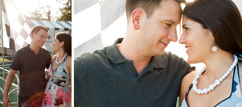 engagement photos with checkerboard flag