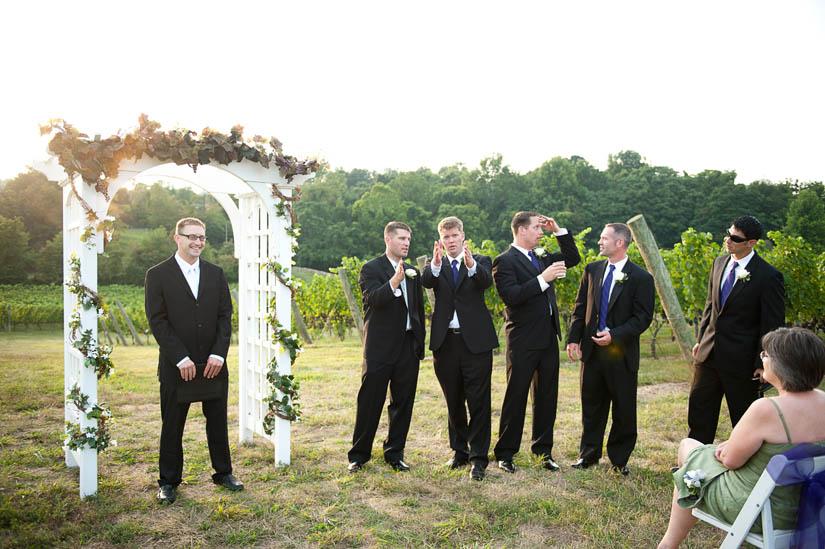 groomsmen at miracle valley vineyard