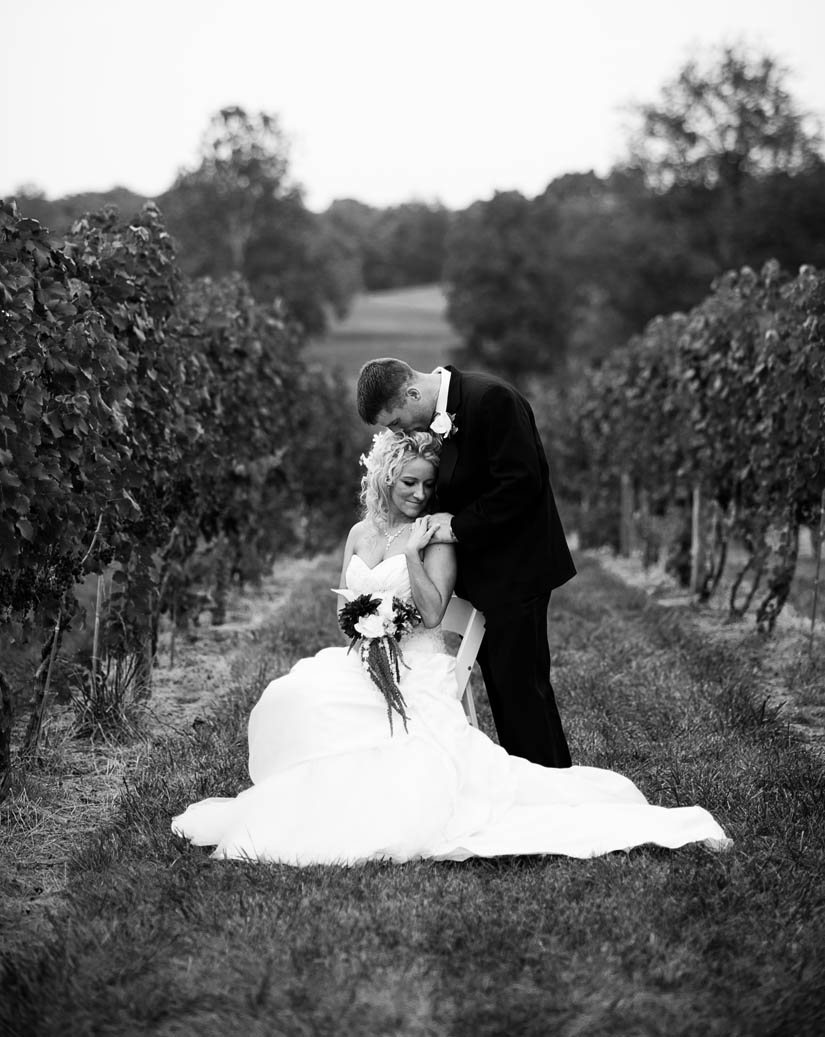 black and white wedding pictures in vineyard