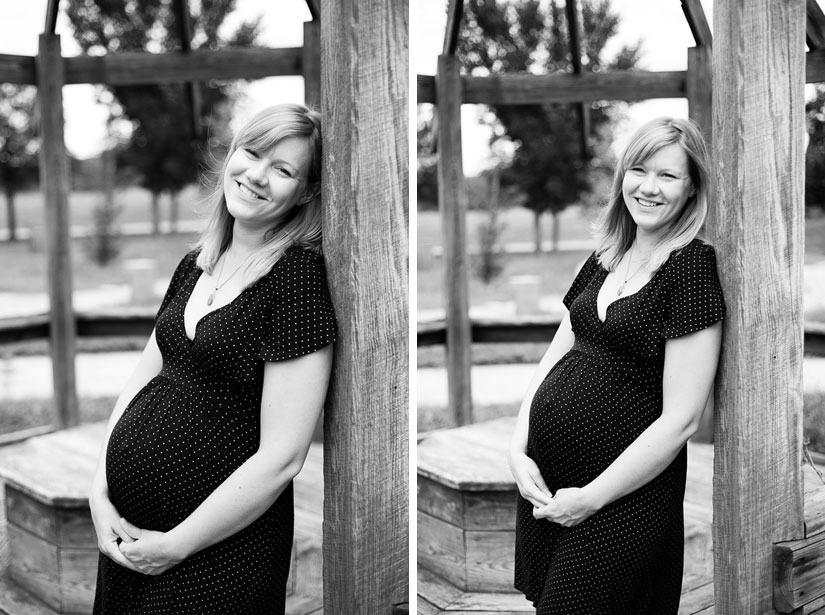 beautiful mother-to-be in black and white