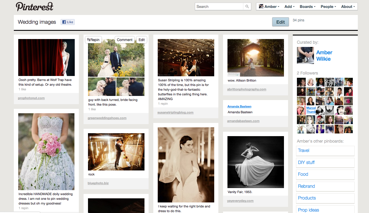 example of pinterest board with wedding images