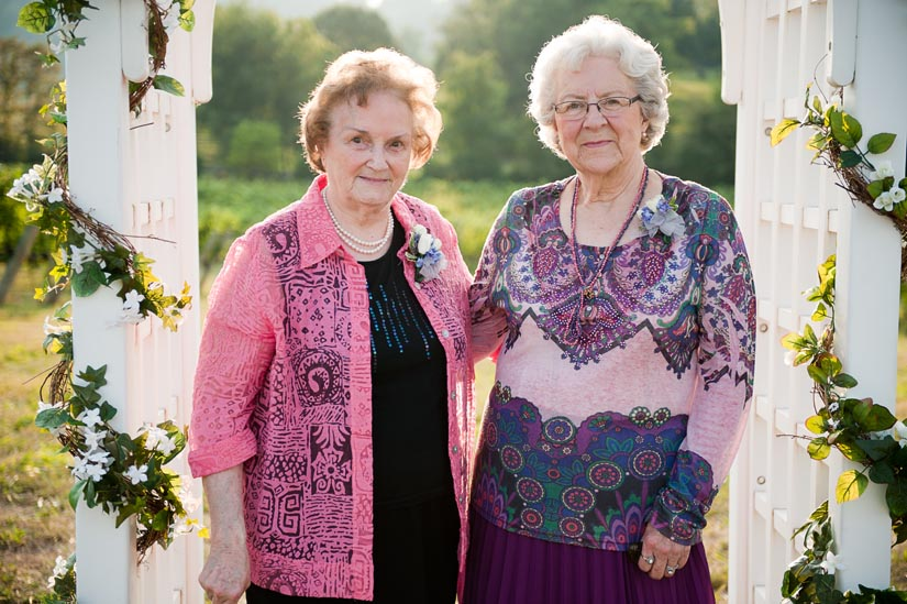 grandmothers of the bride before the wedding ceremony