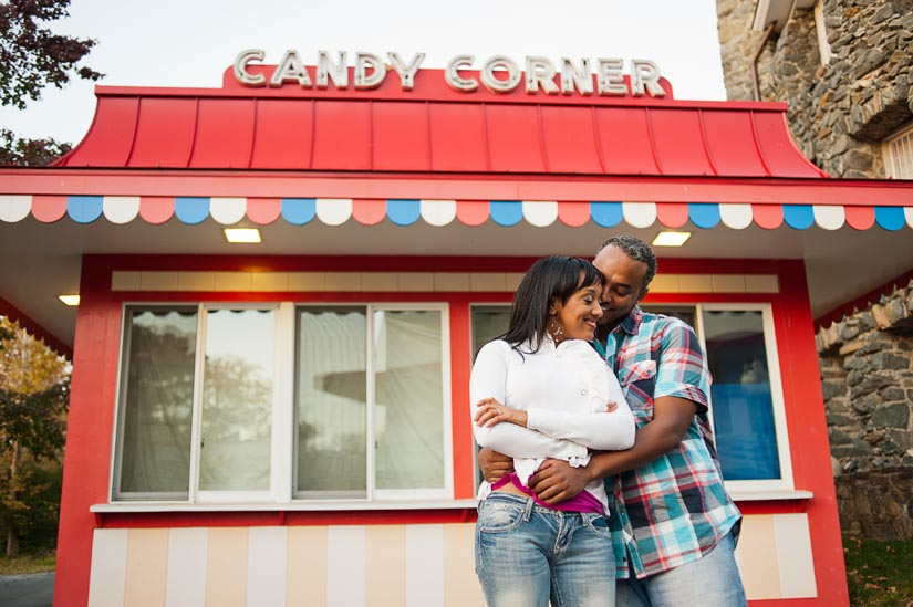 candy corner sign at glen echo park engagement session