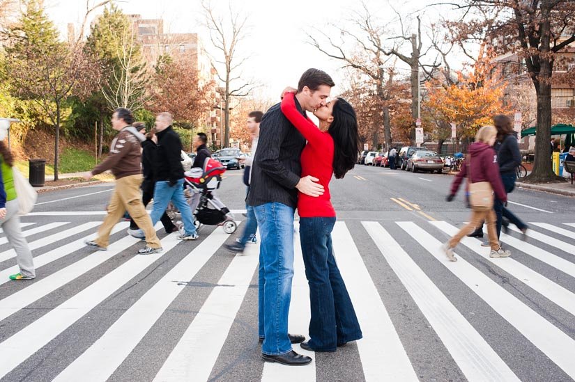 engagement session in crosswalk - washington dc
