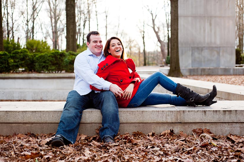 happy engaged couple on roosevelt island