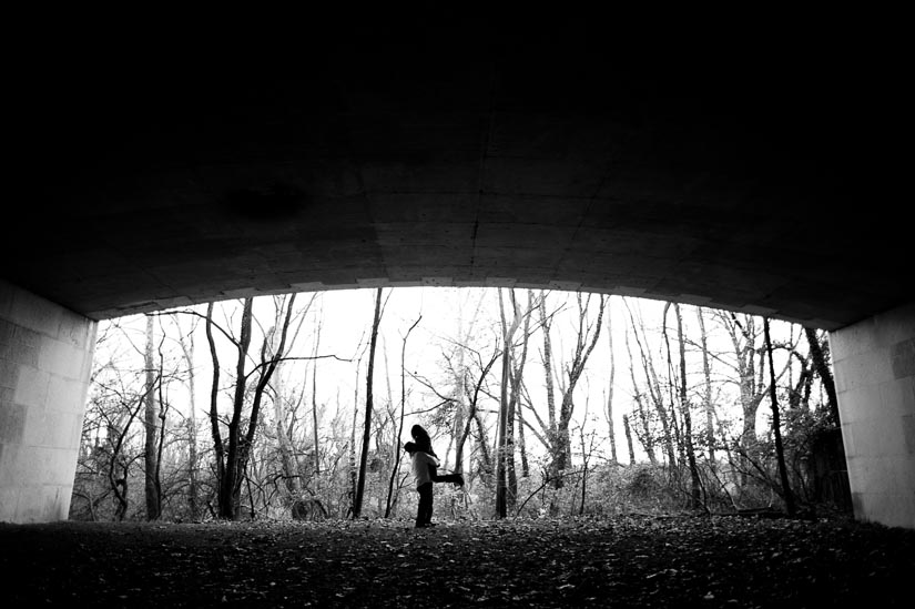 silhouette under I-66 bridge