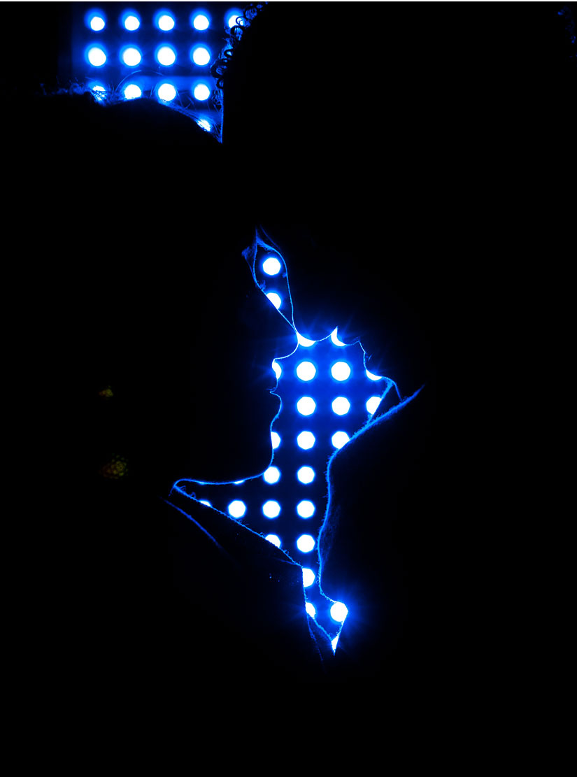 silhouette with blue lights