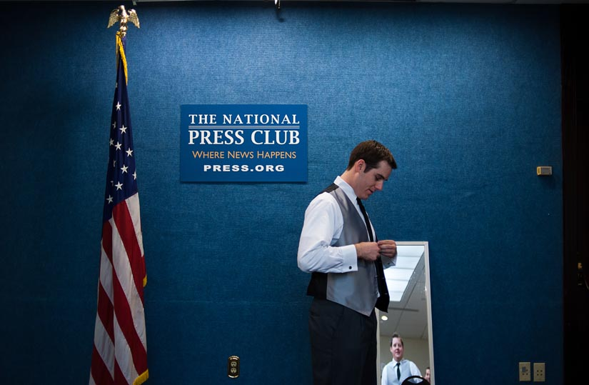groom gets ready at the national press club in washington, dc