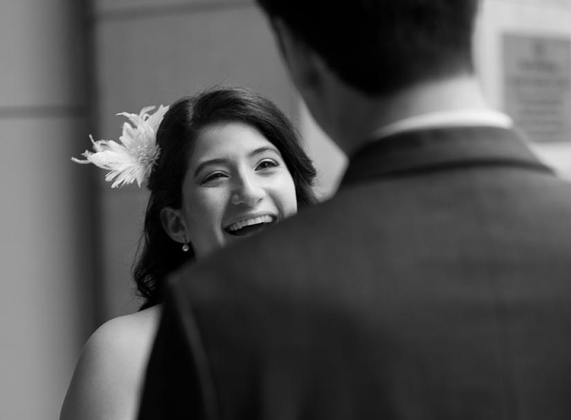 bride laughing with her man