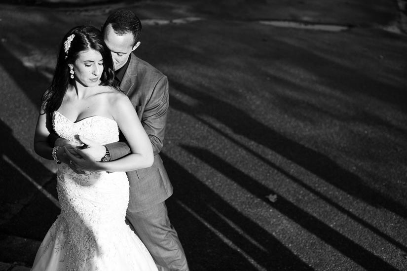 shooting a wedding couple in harsh light