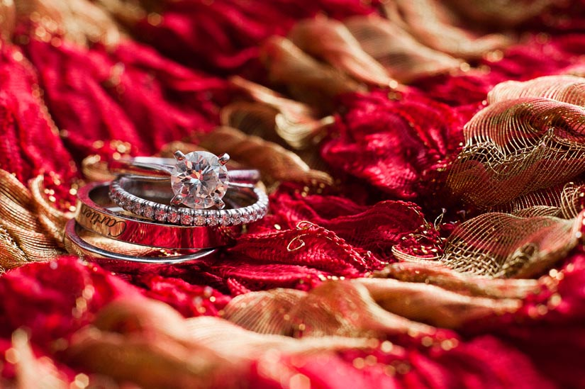 ring shot on indian scarf