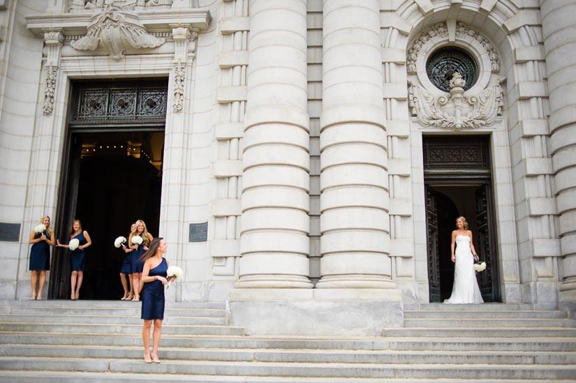 bride and bridesmaids at u.s. naval academy