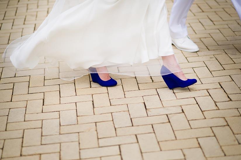 blue wedge heel wedding shoes