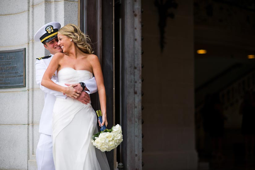 bride and groom at u.s. naval academy