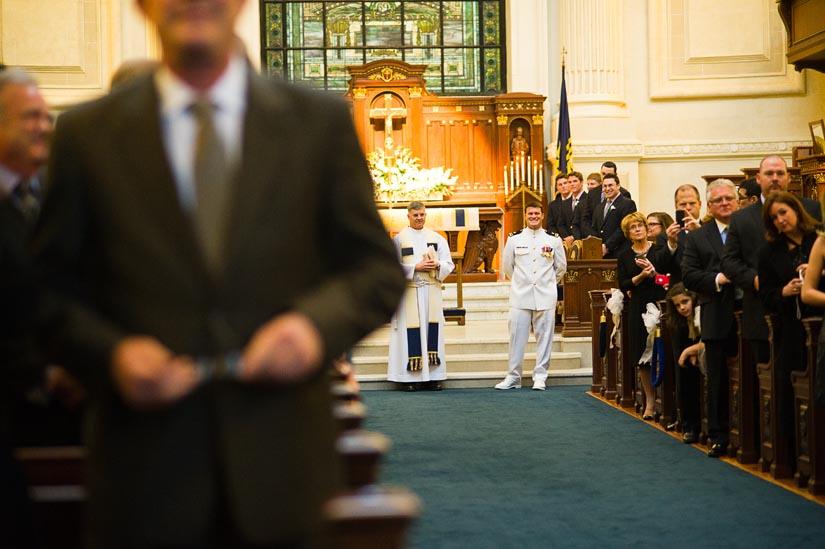 groom very excited at u.s. naval academy chapel