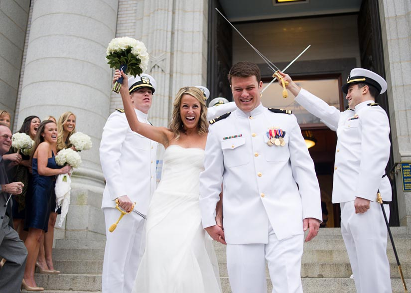 bride and groom with swords