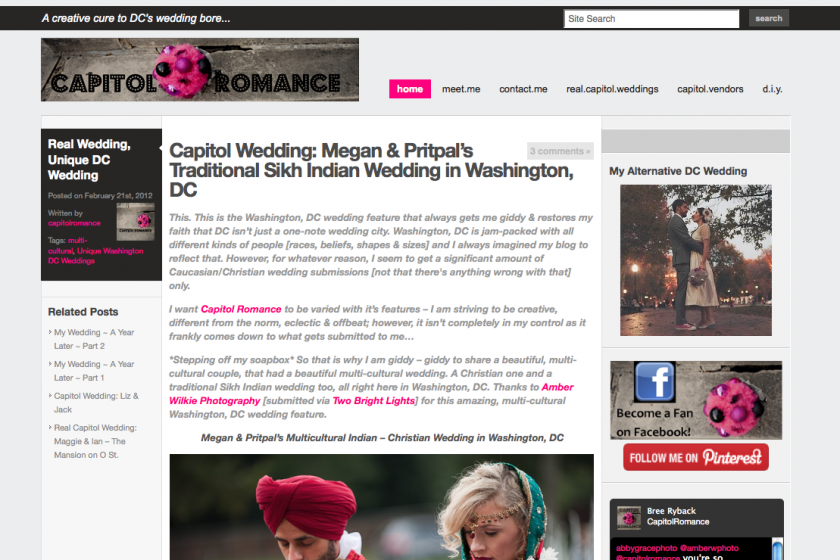 wedding feature on capitol romance