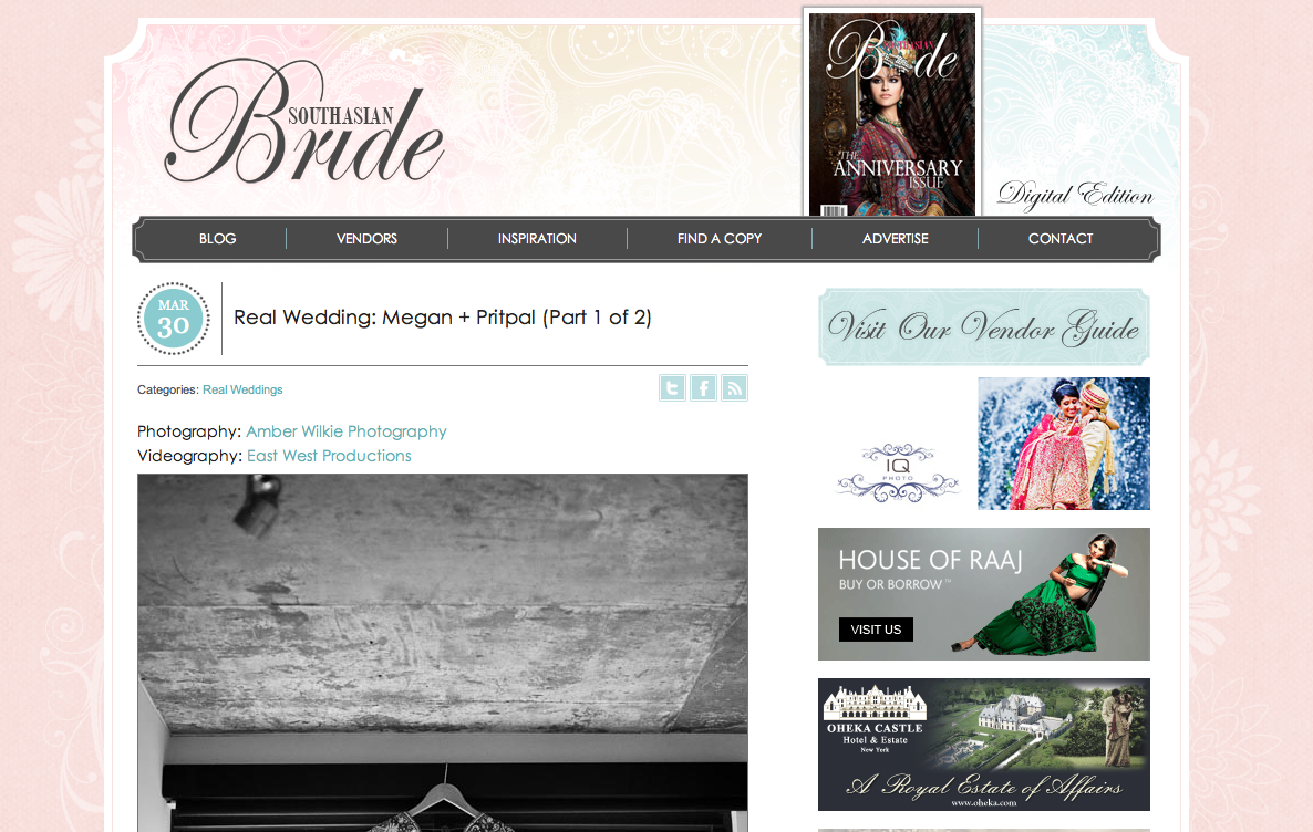 Sikh wedding featured on South Asian Bride website