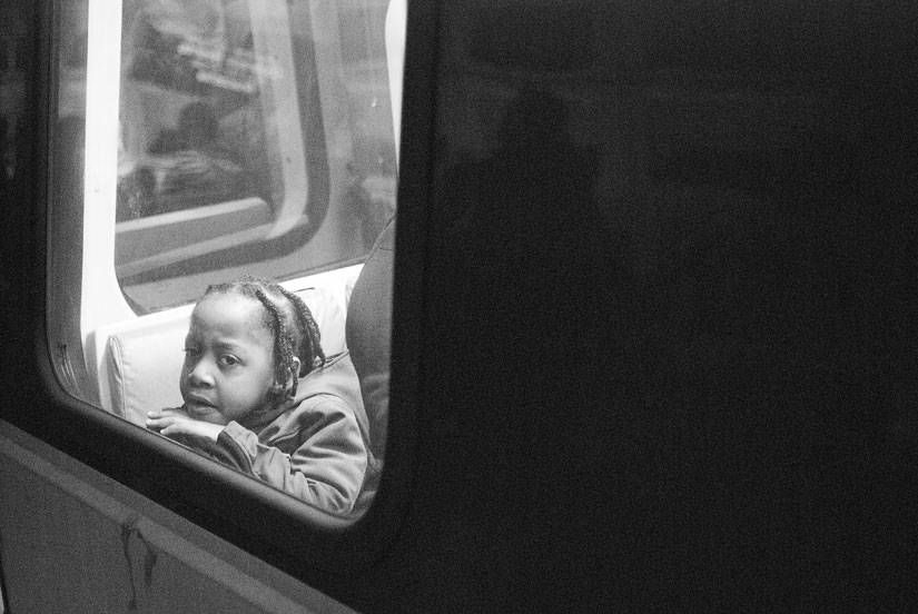 little girl on the washington dc metro