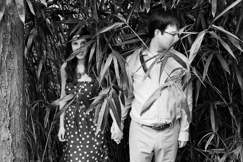 weird engagement photography with bamboo