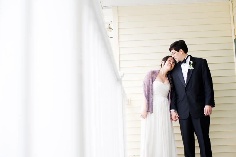bride and groom at the oaks waterfront inn