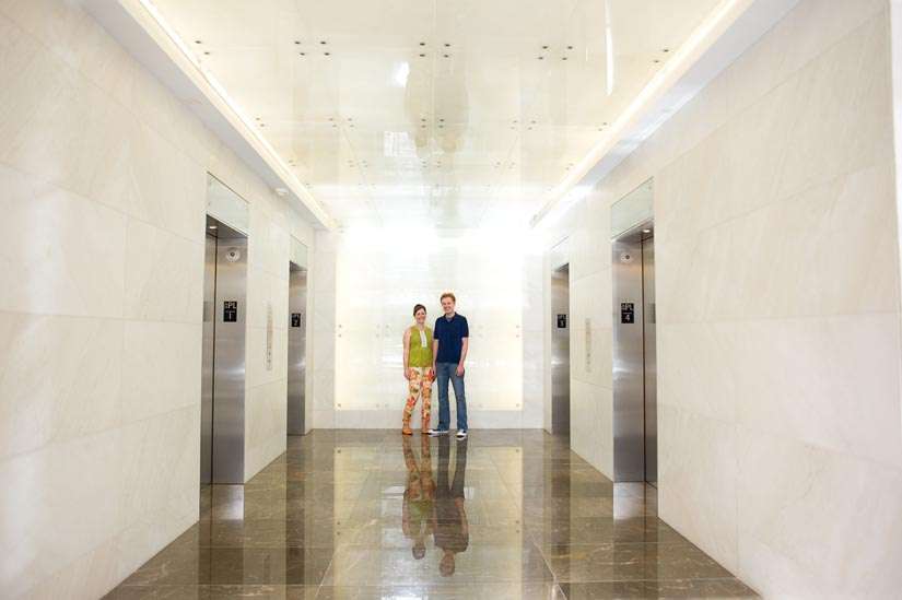 engagement photos in corporate lobby
