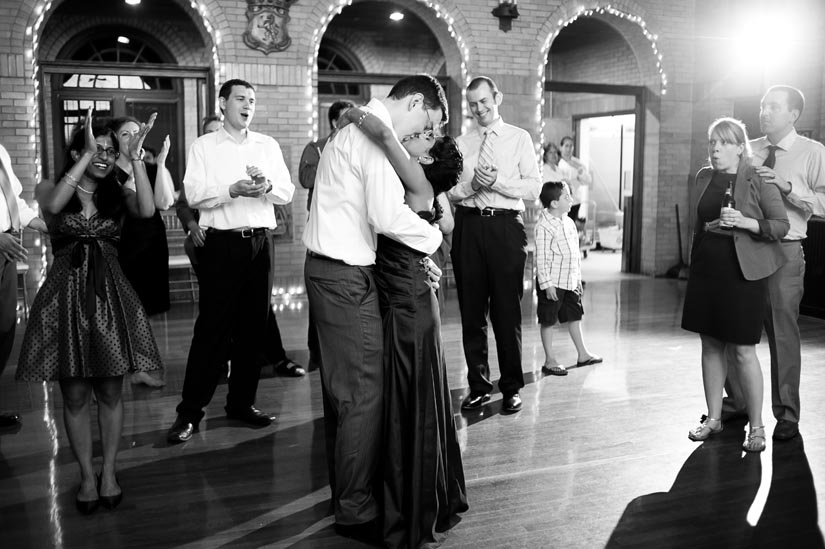 bride and groom dancing at st. francis hall