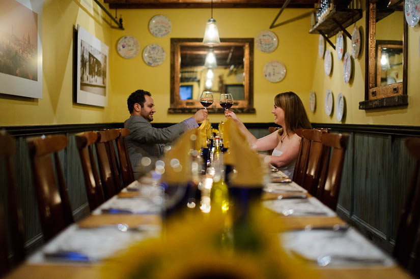 engagement photography in a restaurant