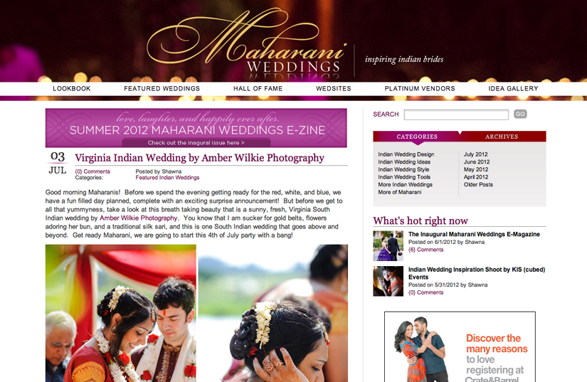 featured indian wedding on maharani weddings