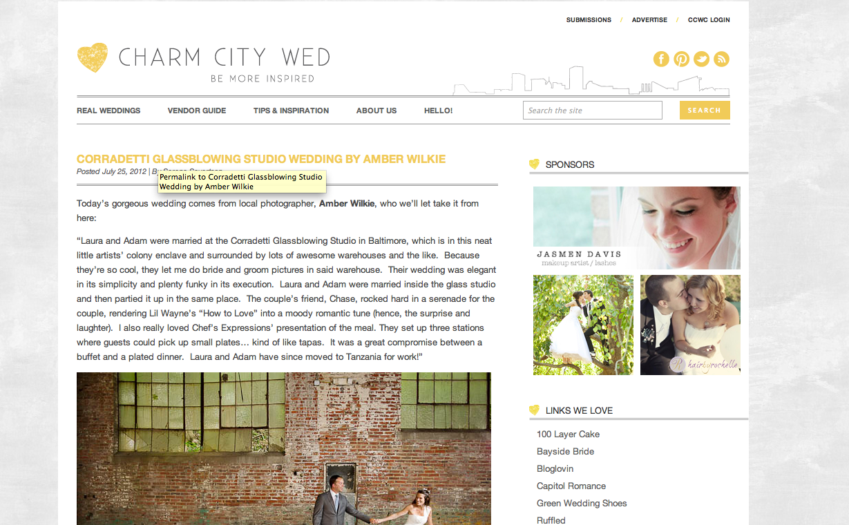 wedding feature on baltimore wedding blog charm city wed