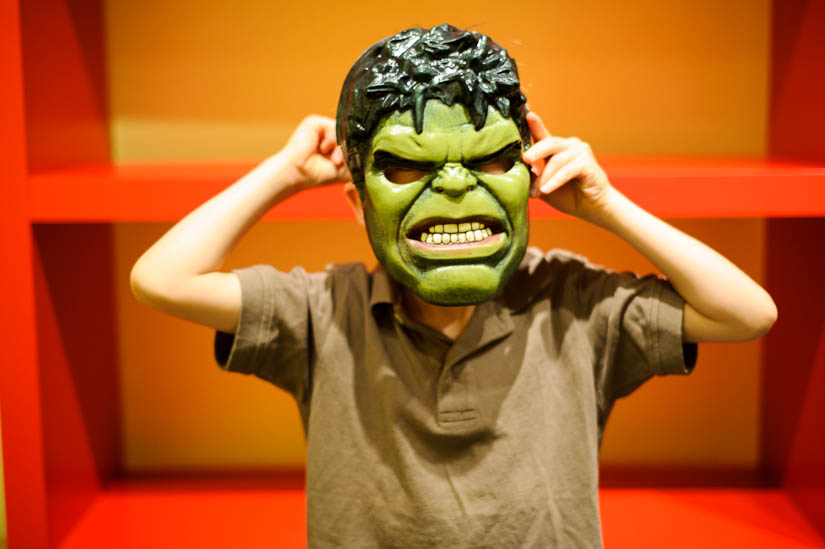 hulk mask during family photography session