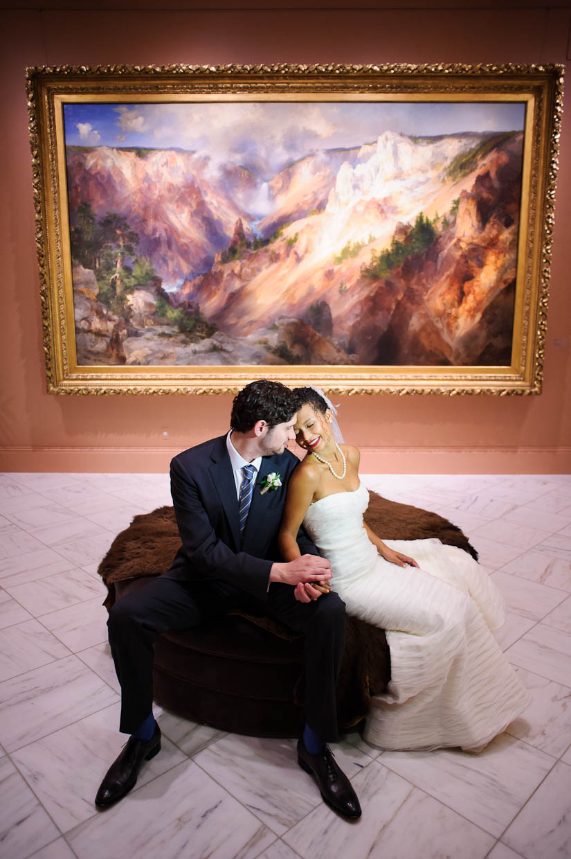 bride and groom portraits at the national portrait gallery